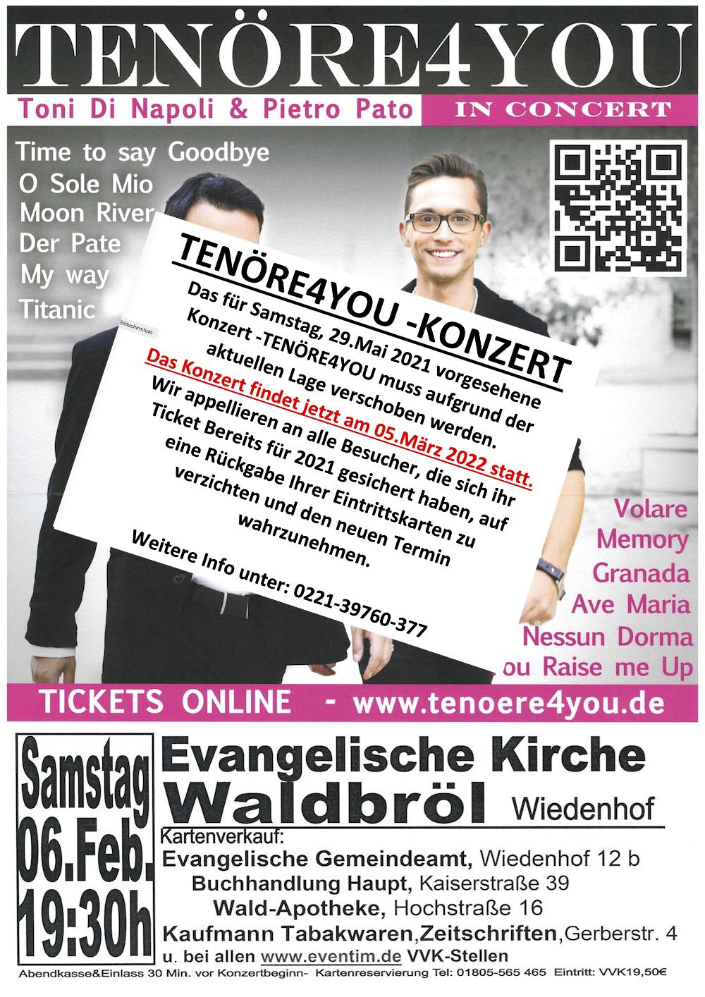 Tenöre4You in Concert **erneut verschoben**